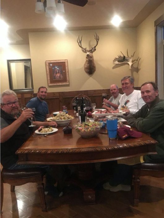 L to R – Doug Buckle, Ryan Tickner, Travis Peckham, Mel Belich & Scott Price ready to get at a BIG Italian meal – missing Tom Spoletini